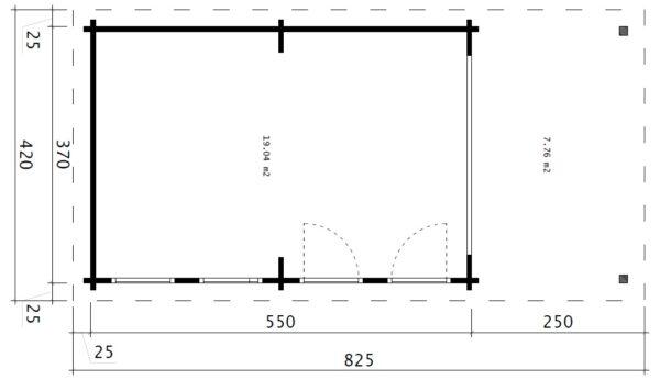 Iso Vierasmaja David-1 avattavalla liukulasiseinällä / 4 x 8 m / 19m2 / 70mm