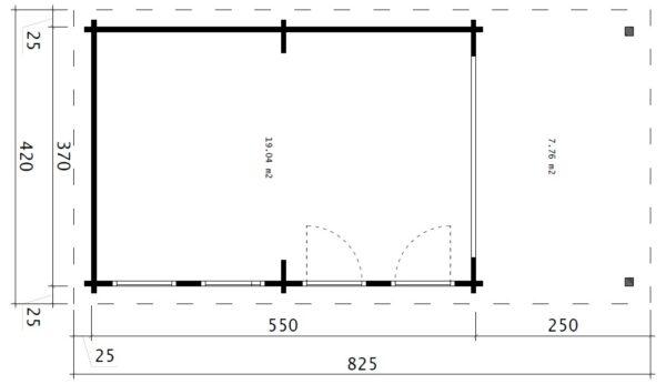 Iso Vierasmaja David-2 avattavalla liukulasiseinällä / 4 x 8 m / 19m2 / 70mm