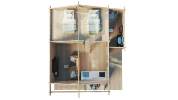 Kahden makuuhuoneen Dallas mökki nukkumaparvella 42 m2 / 7 x 7 m / 70mm