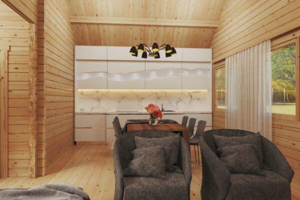 Holiday Max 2 Hirsimökki kahdella makuuhuoneella ja nukkumaparvella 85 m2 / 12 x 7,5 m / 92 mm hirsi