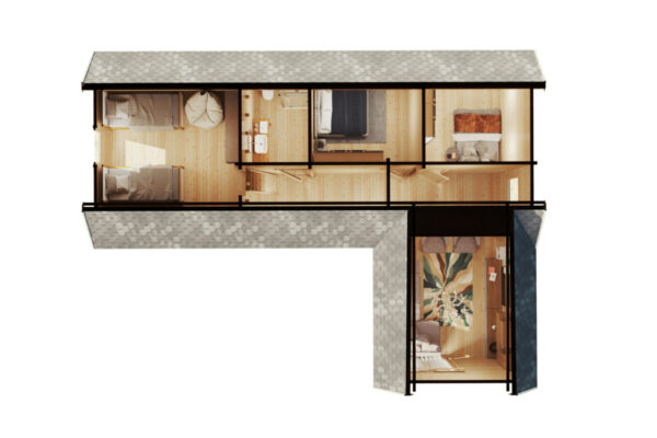 Holiday Max 1, kahden makuuhuoneen hirsimökki nukkumaparvella, 85 m2 / 9 x 12 m / 92 mm